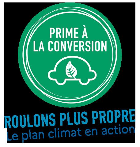Logo du dispositif Prime à la Conversion - roulons plus propre